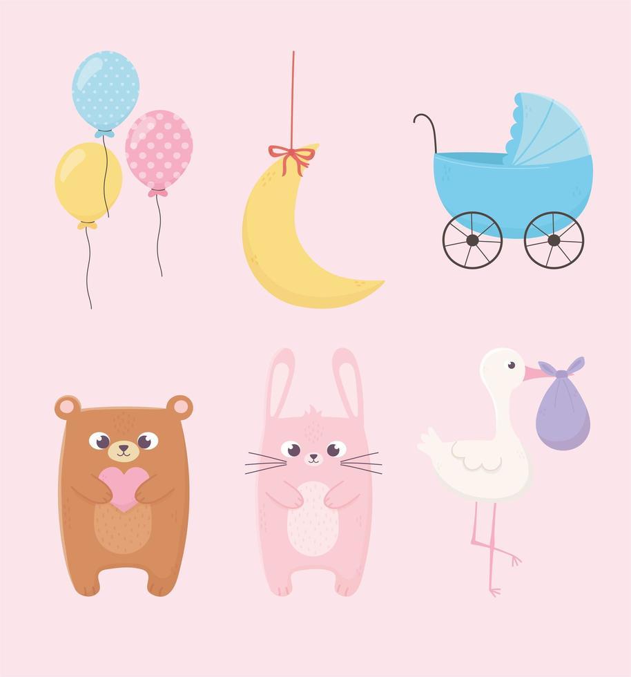 lindo conjunto de iconos de baby shower vector