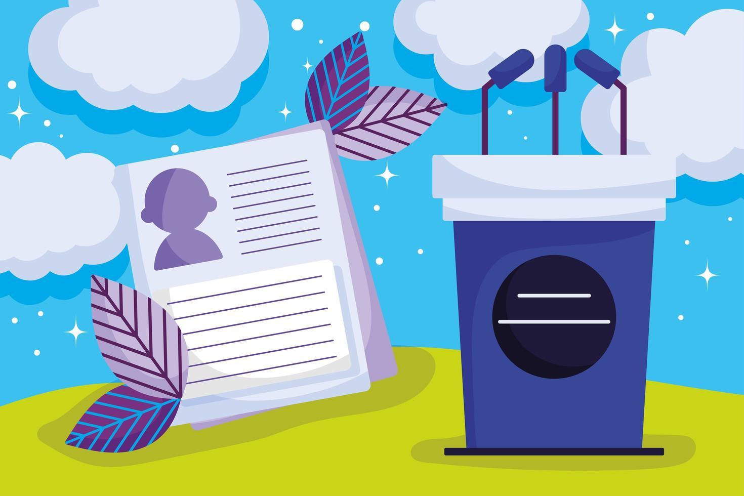 Speaking podium with microphones outdoors vector