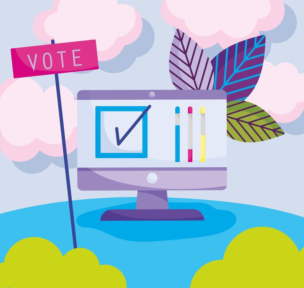 Votación en línea y concepto de investigación. vector
