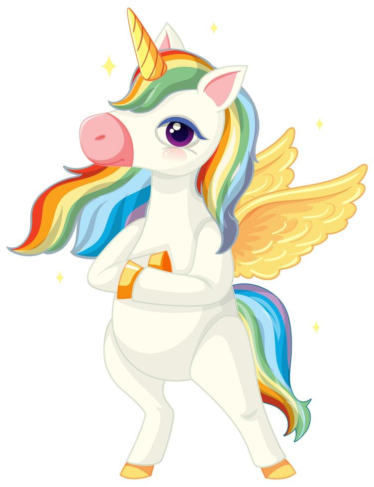 Cute rainbow unicorn in standing position on white background vector