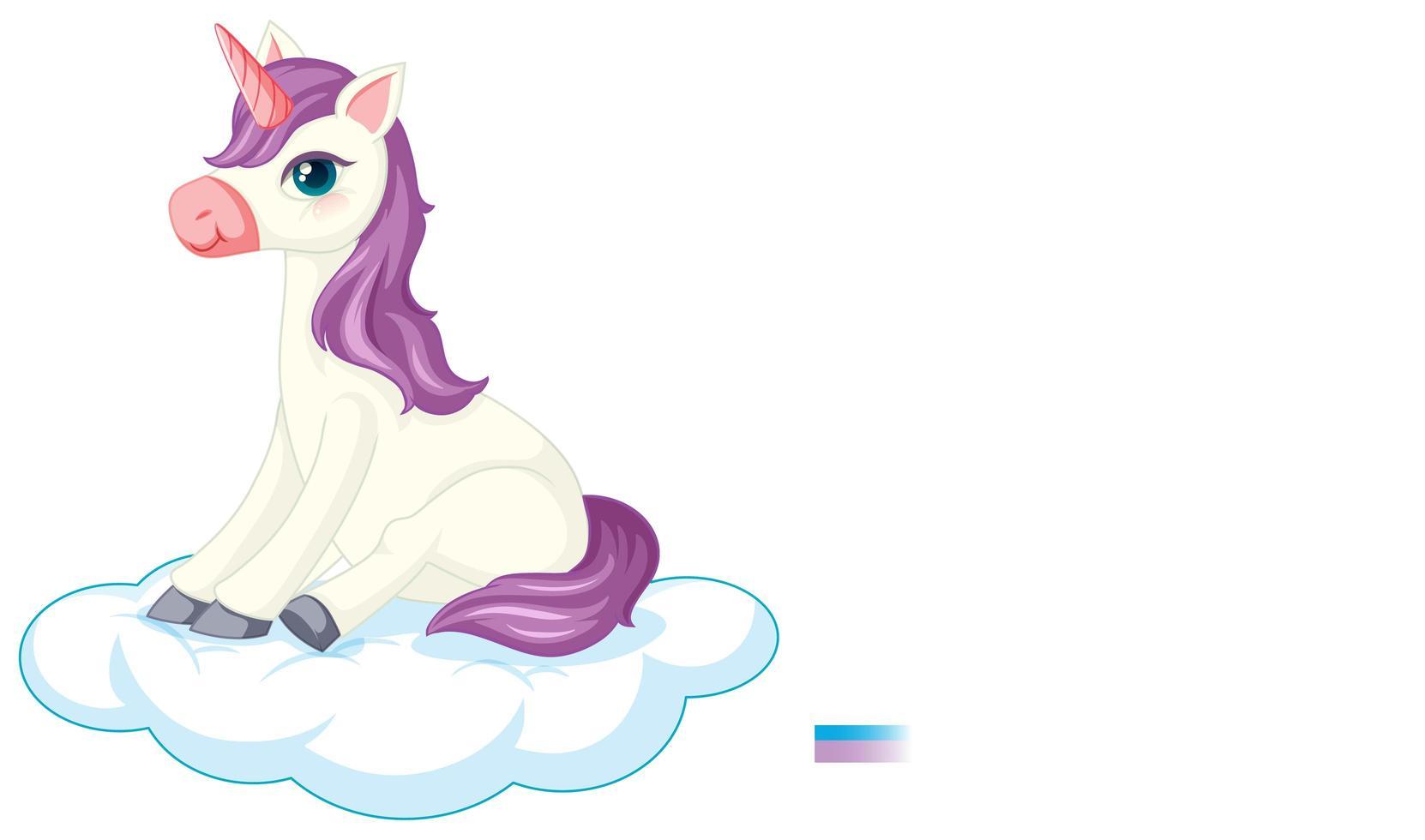 Lindo unicornio púrpura en posición sentada sobre fondo blanco. vector