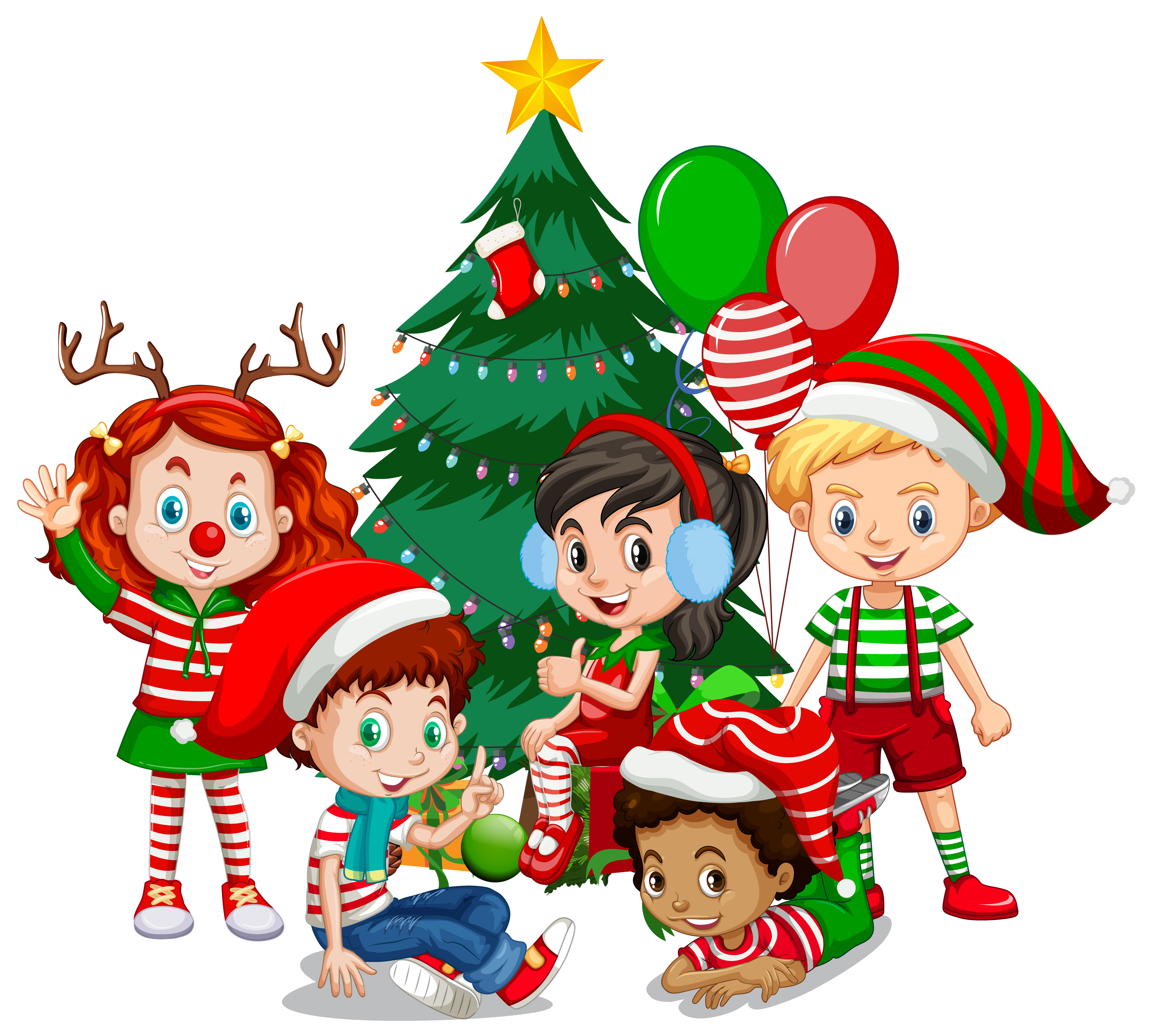 Children Wear Christmas Costume Cartoon Character With Christmas Tree On White Background Download Free Vectors Clipart Graphics Vector Art