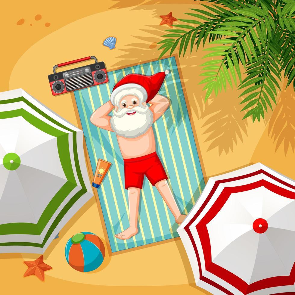 Santa Claus on the beach for Summer Christmas vector