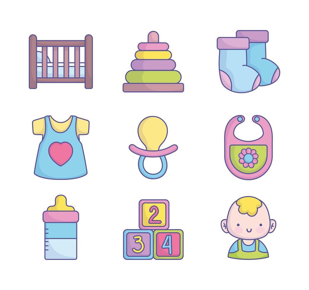 linda colección de iconos de baby shower vector