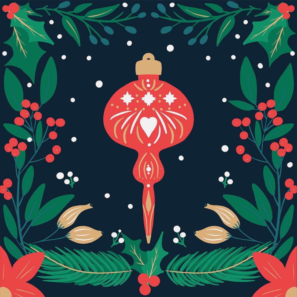 adorno navideño retro dibujado a mano y follaje vector