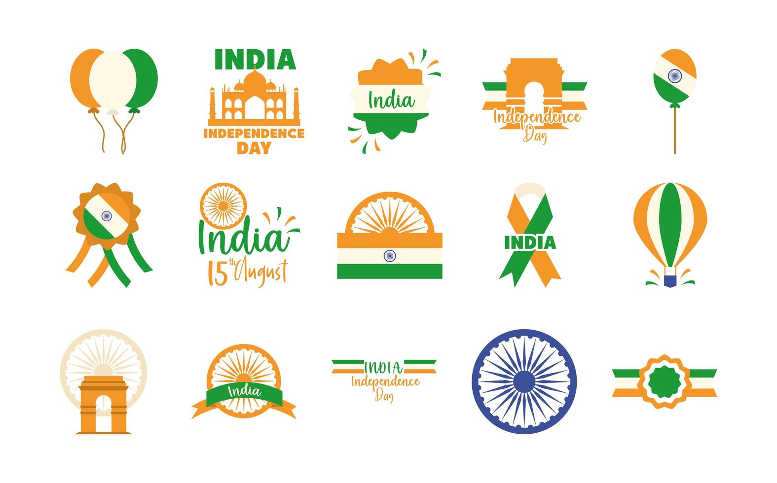 India Independence Day icon set vector
