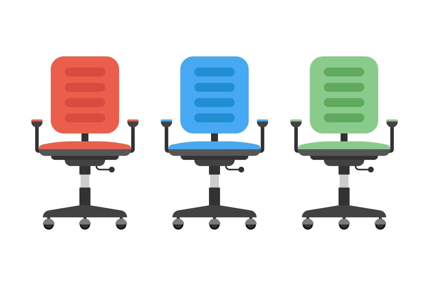 silla de oficina en diferentes colores vector