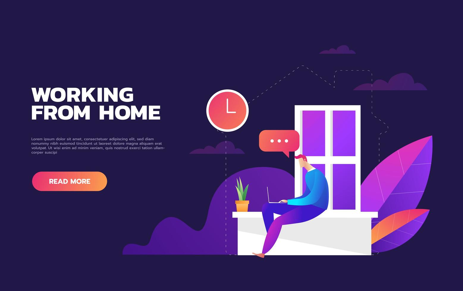 Working from home design vector