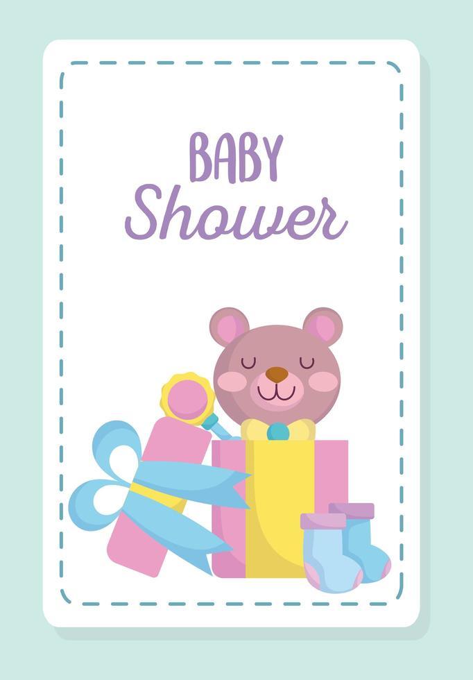 tarjeta de baby shower con lindo osito vector