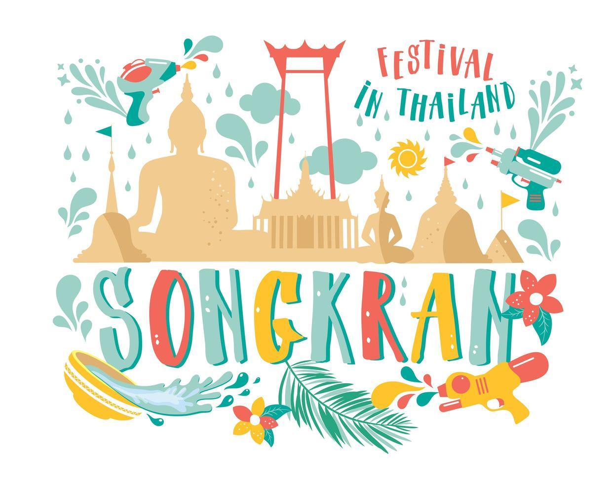 Songkran festival banner vector