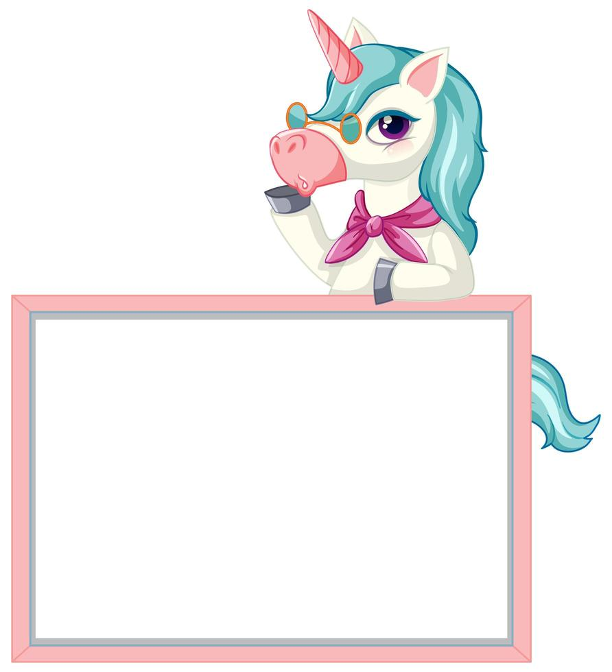 Cute unicorn with blank banner sign on white background vector