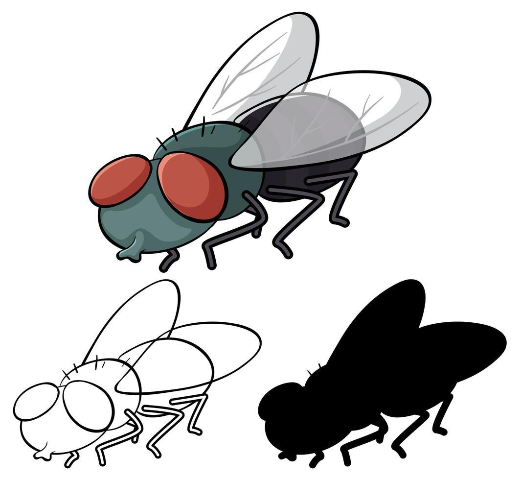 conjunto de dibujos animados de mosca vector
