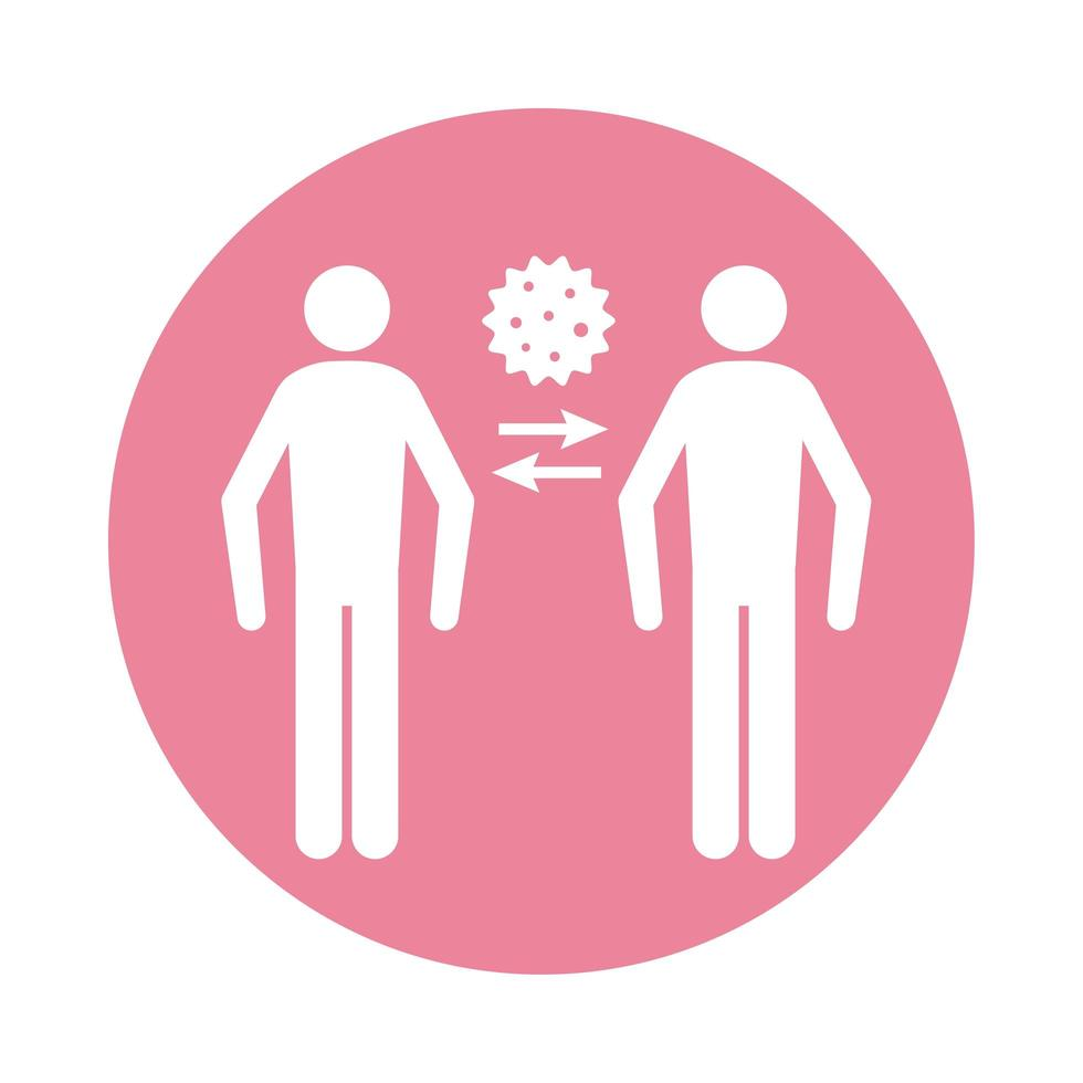 Persons infected with covid19 block silhouette style icon vector