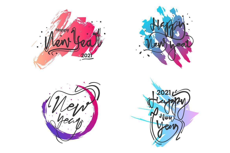 caligrafía de año nuevo 2021 con pinceladas de colores vector
