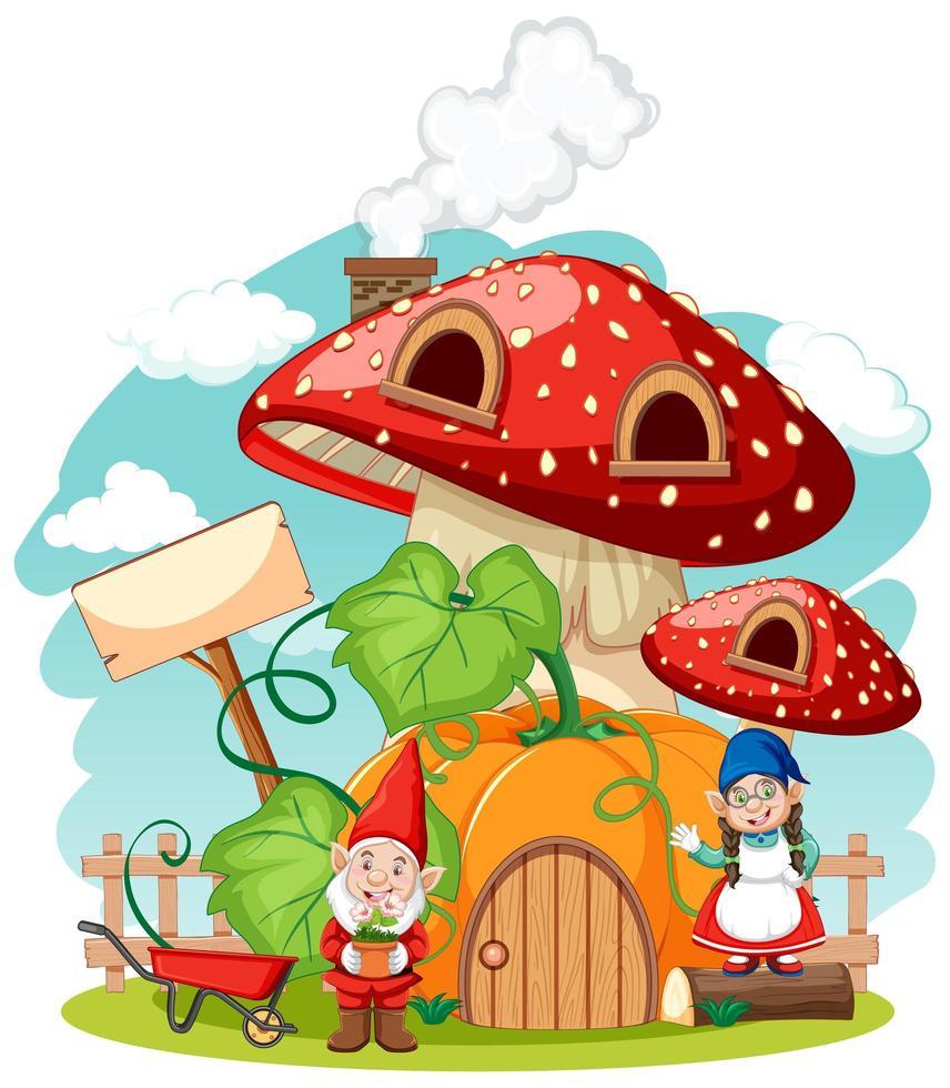 Gnomes and mushroom pumpkin house vector
