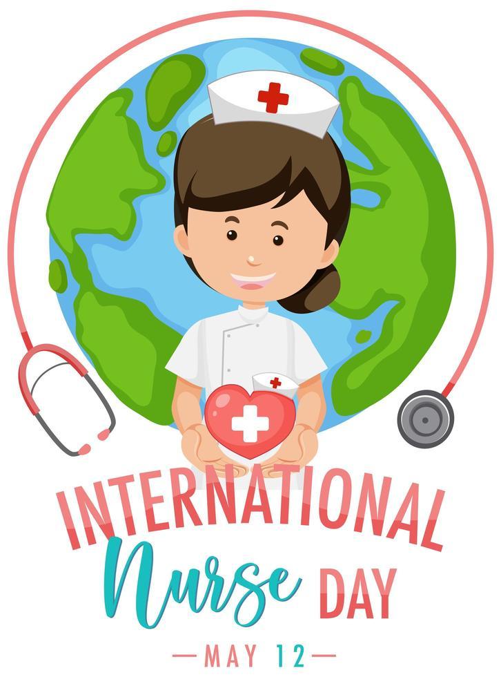 logo del día internacional de la enfermera con linda enfermera vector