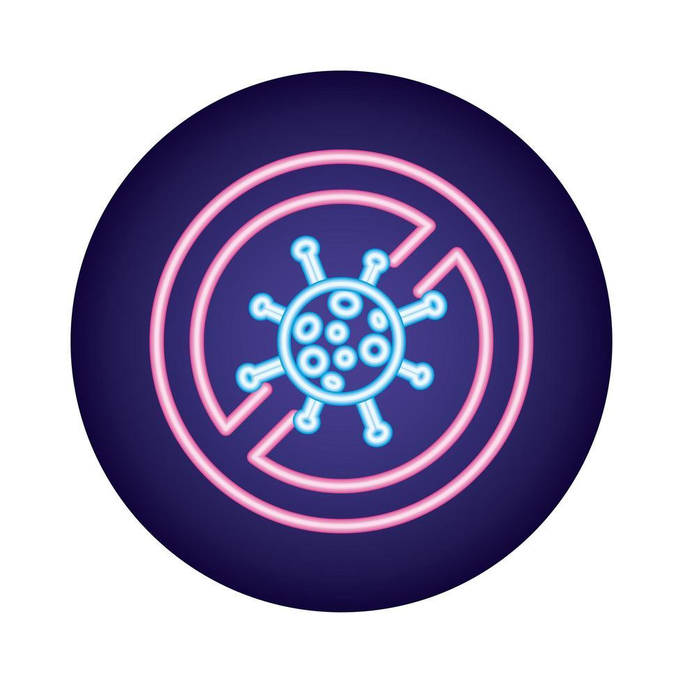 símbolo denegado de partículas de virus covid19 en estilo neón vector