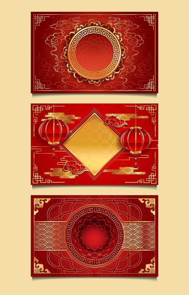 Red and Gold Decorative Chinese New Year Templates vector