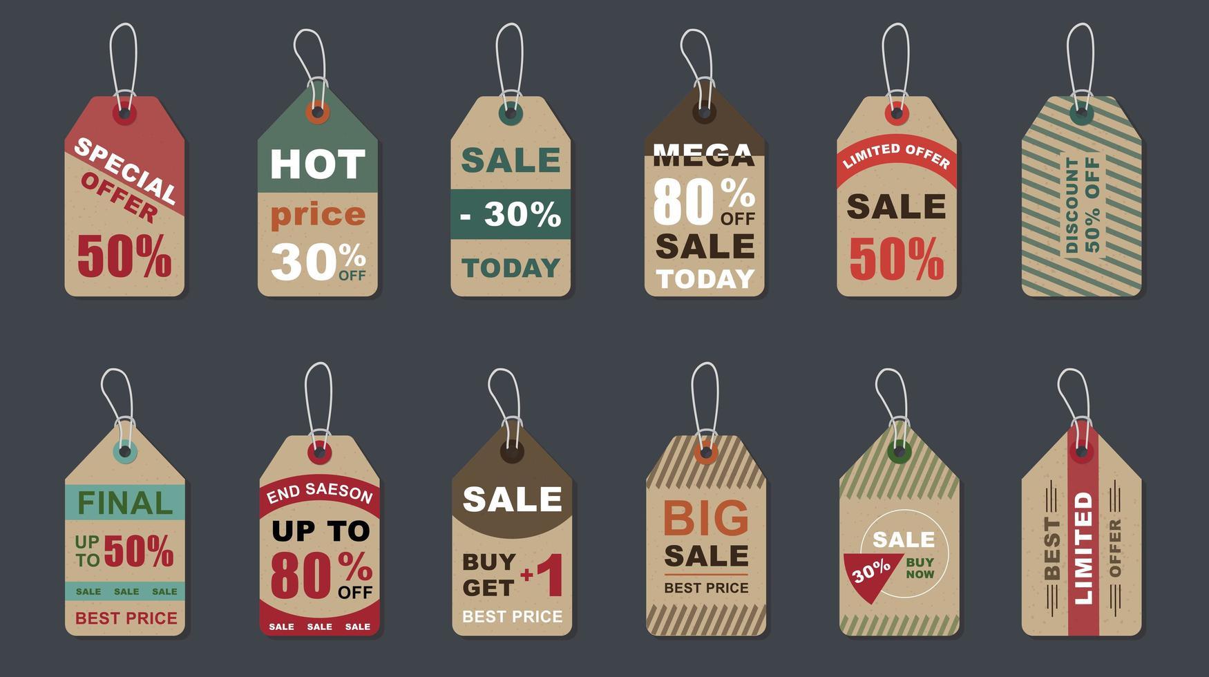 Big sale vintage badges set vector