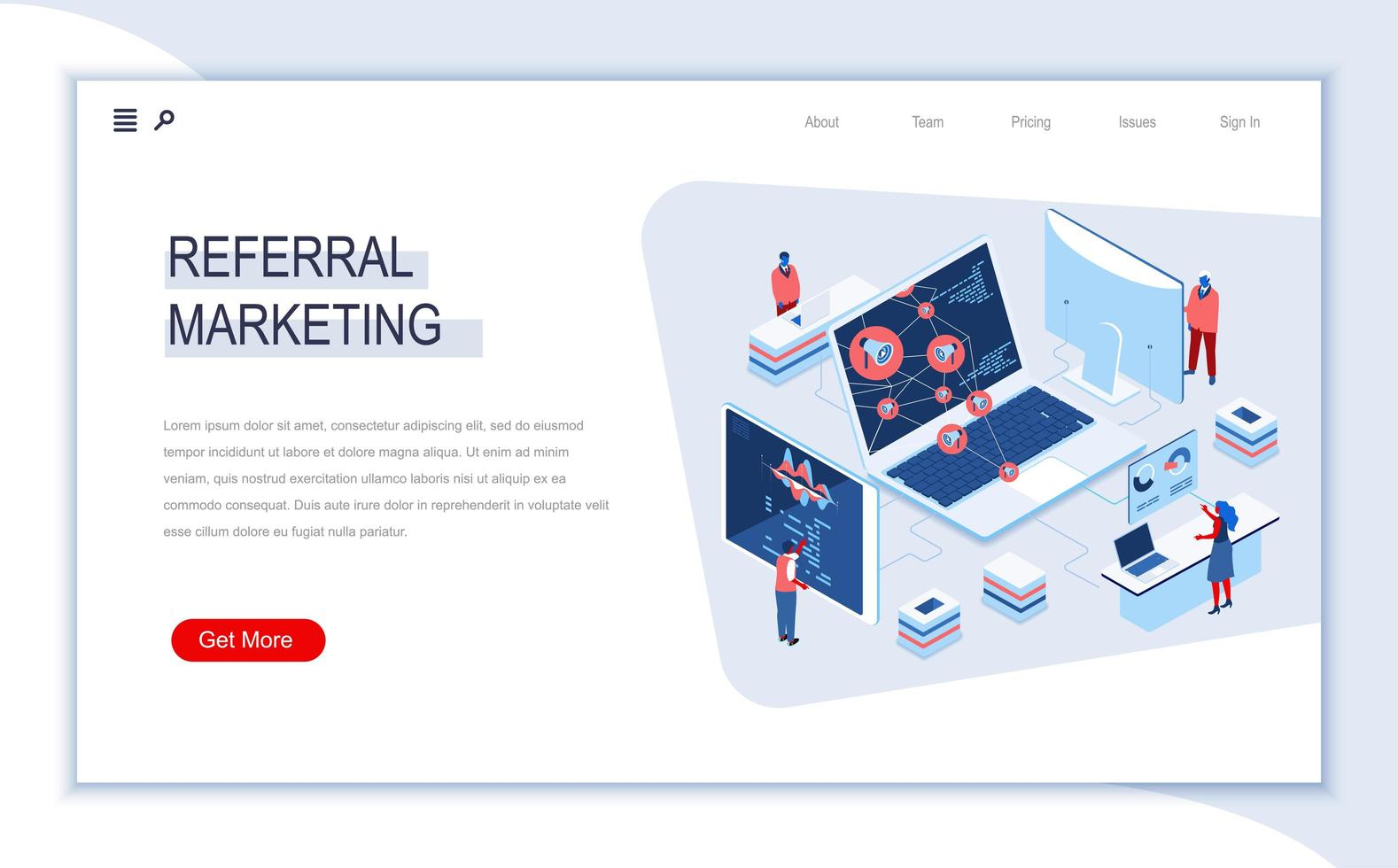 Referral marketing isometric landing page vector