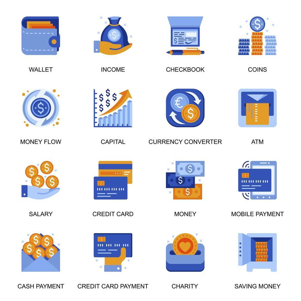 iconos de transacciones de dinero en estilo plano. vector