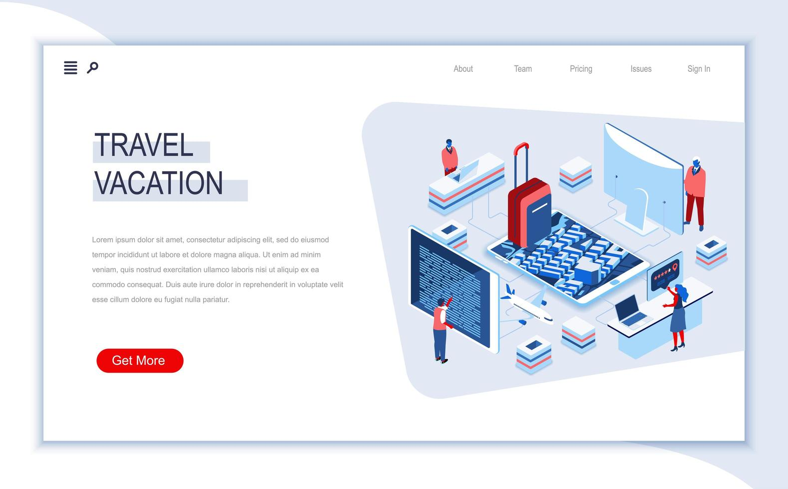 Travel and vacation isometric landing page vector
