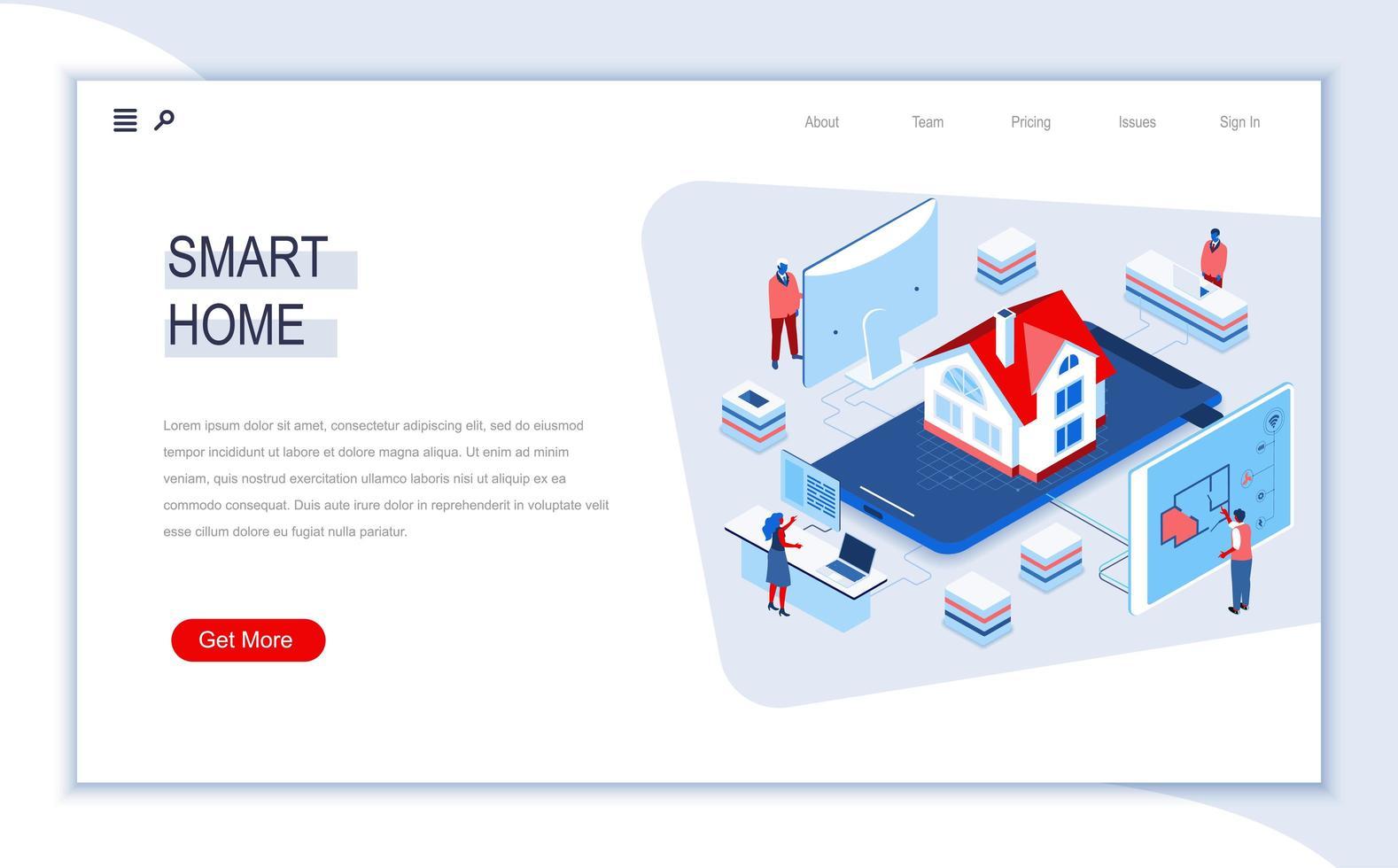 página de inicio isométrica de casa inteligente vector