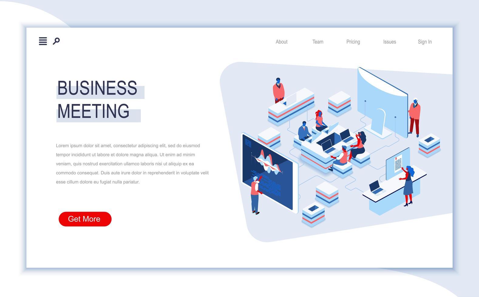 página de inicio isométrica de reunión de negocios vector