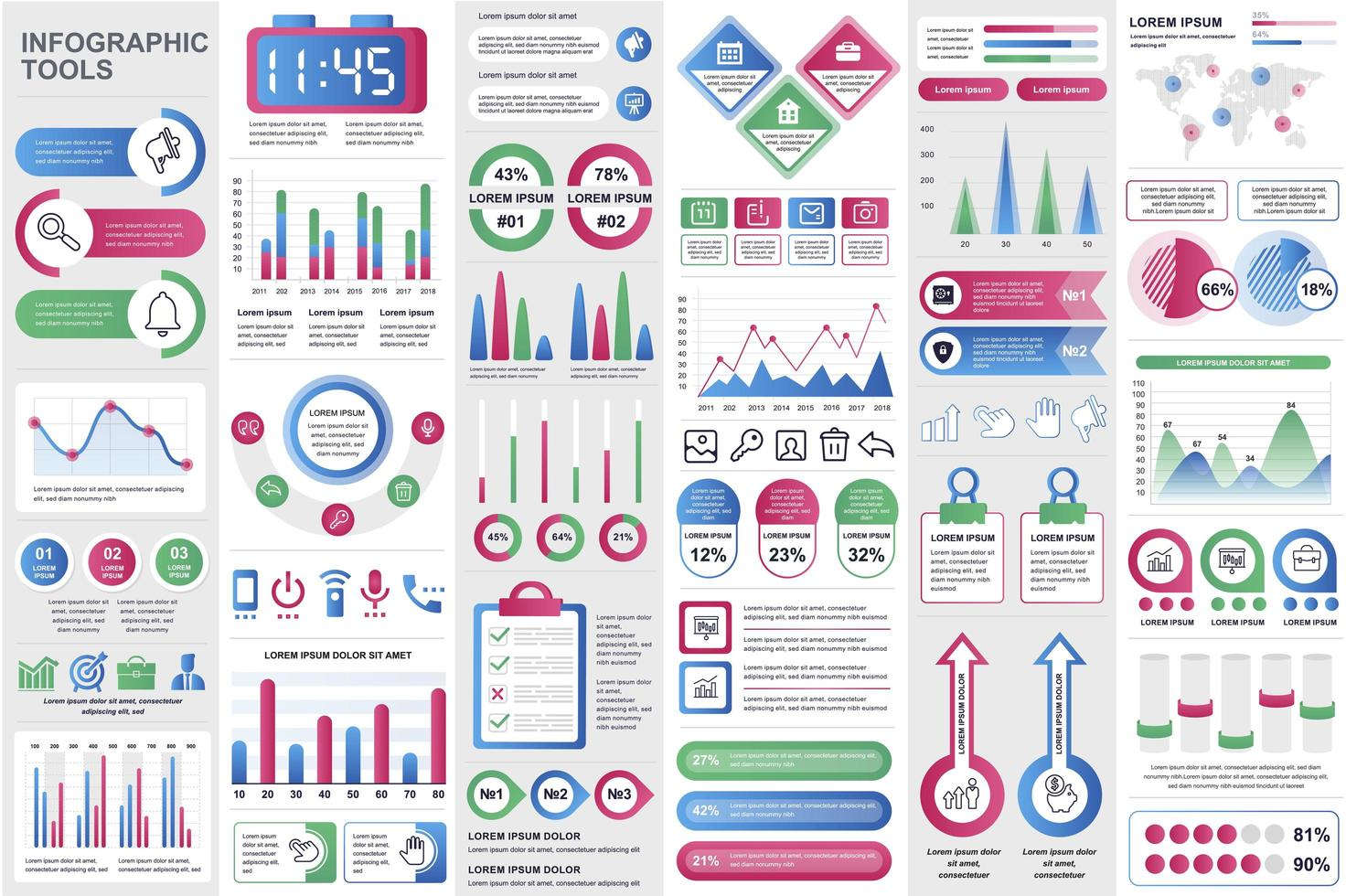 Business infographic elements set in flat style vector