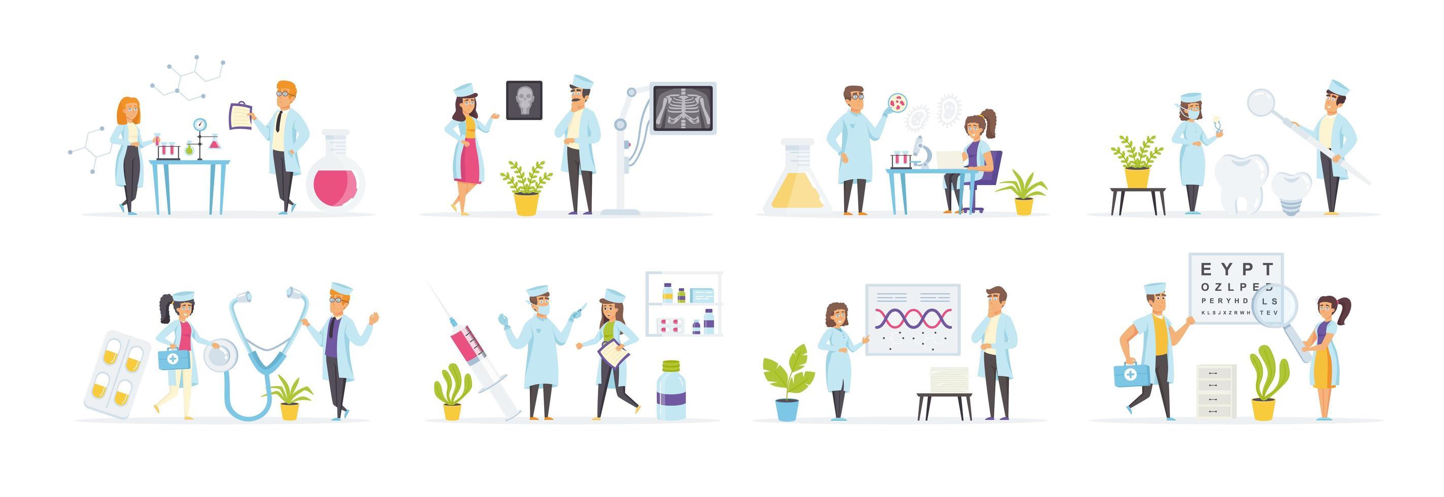 salud y medicina con personajes de personas. vector