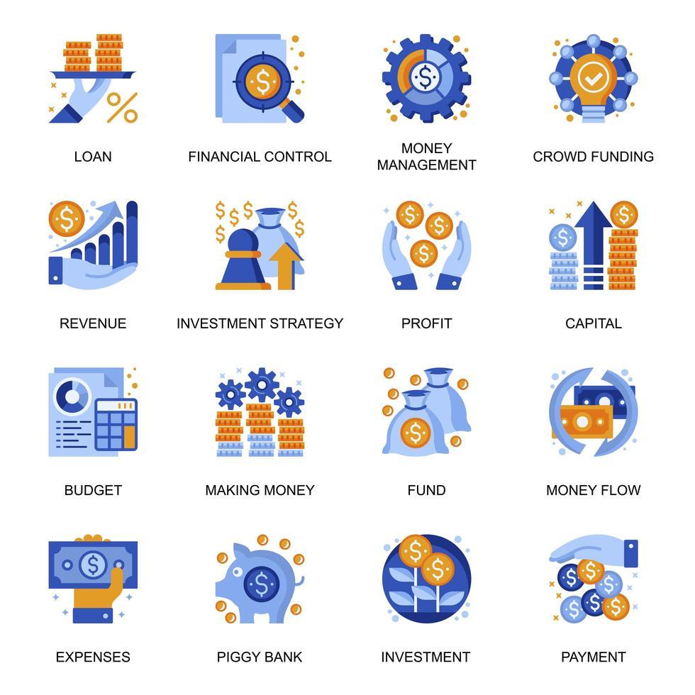 iconos de gestión financiera en estilo plano. vector