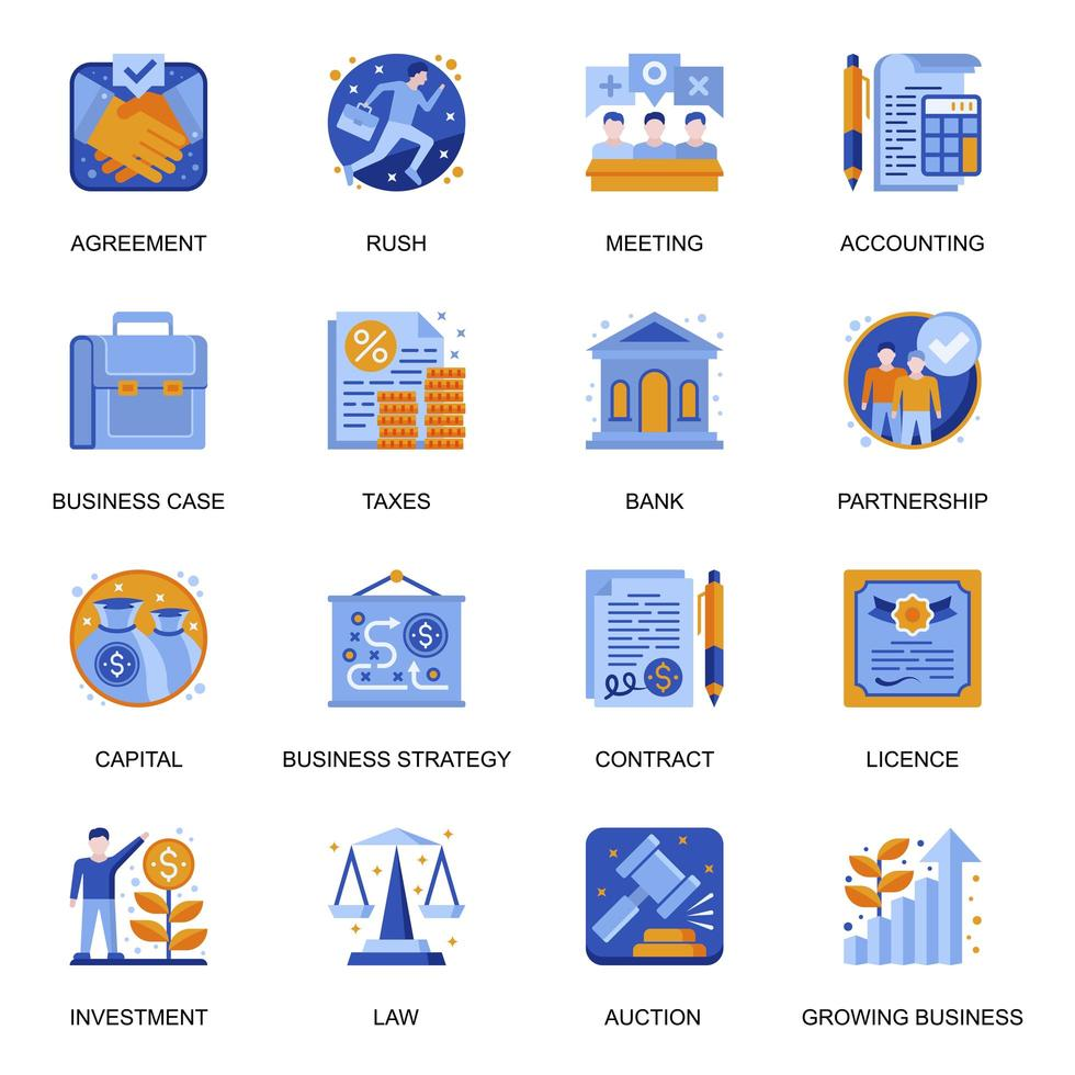 Business development icons set in flat style. vector