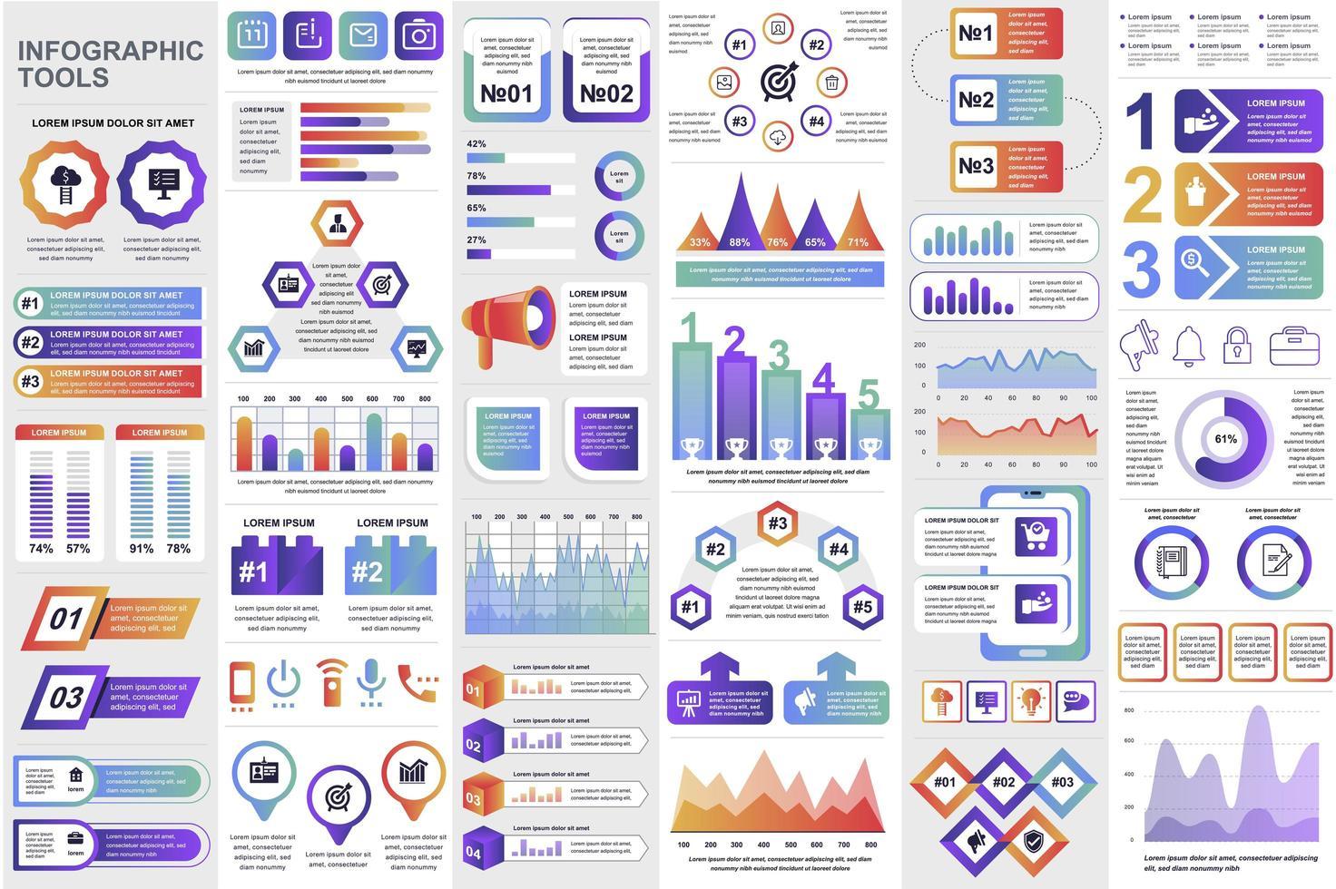 Bundle business infographic elements vector