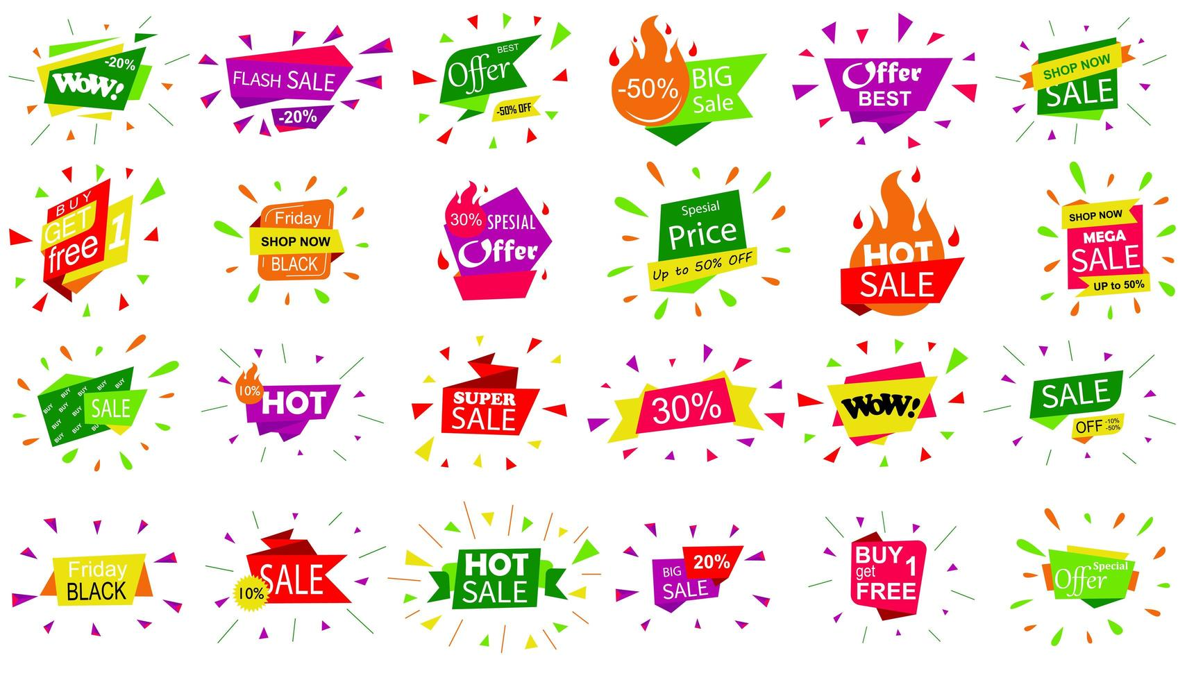 Set of sale banner badge templates. vector