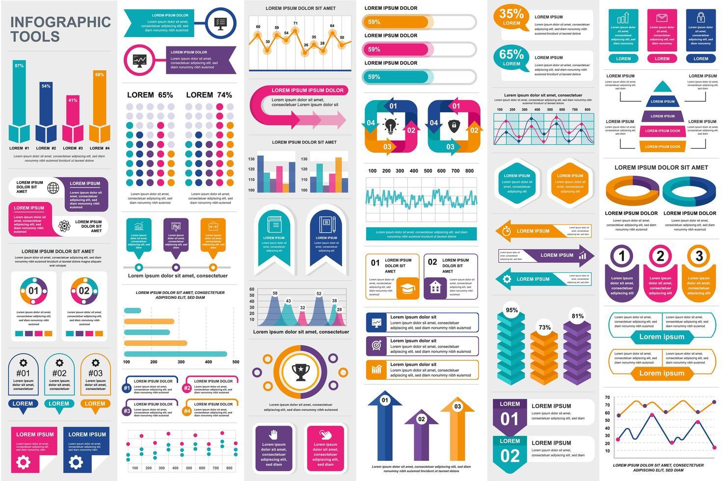 paquete de plantilla de elementos de infografía vector