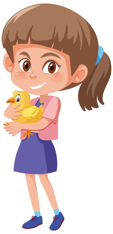 niña sosteniendo lindo personaje de dibujos animados de pollo vector