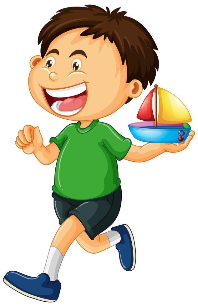 niño sosteniendo barco de juguete vector
