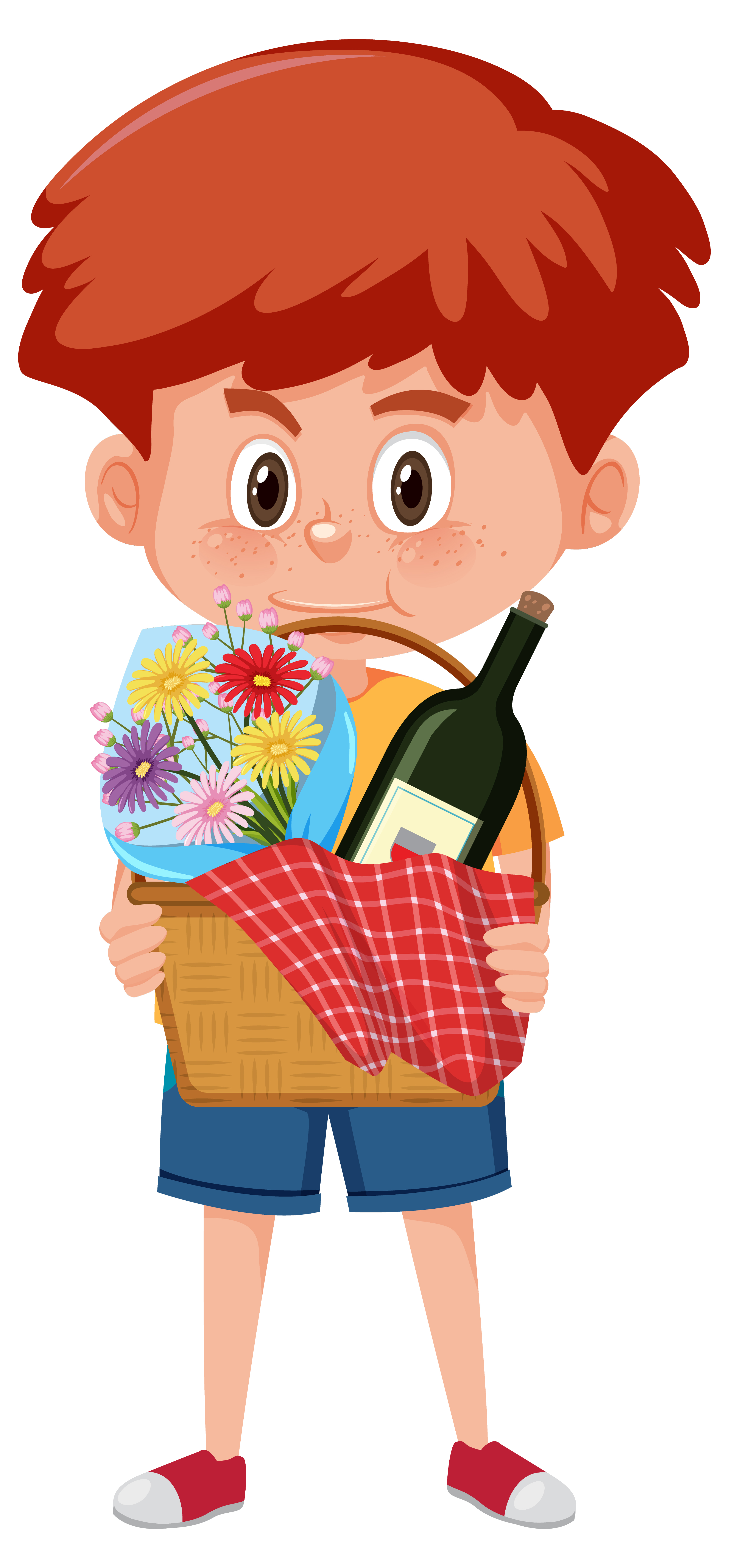 Boy Holding Picnic Basket Cartoon Download Free Vectors Clipart Graphics Vector Art
