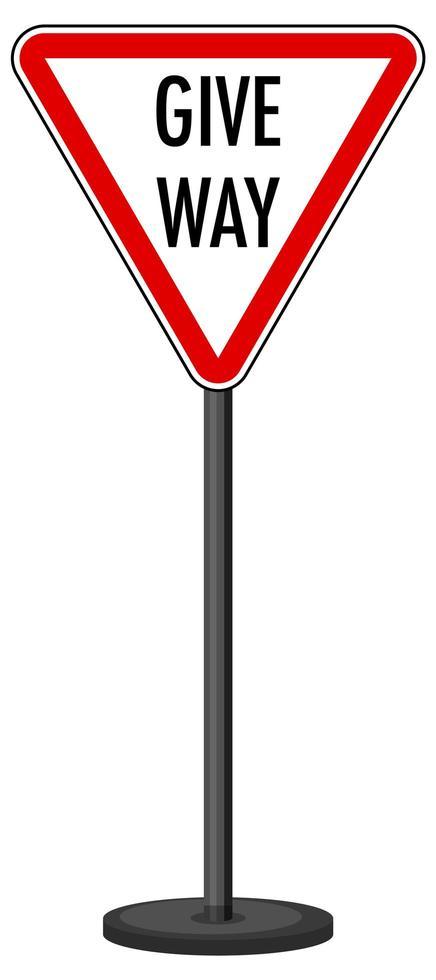 Señal de tráfico ceda el paso rojo sobre blanco vector