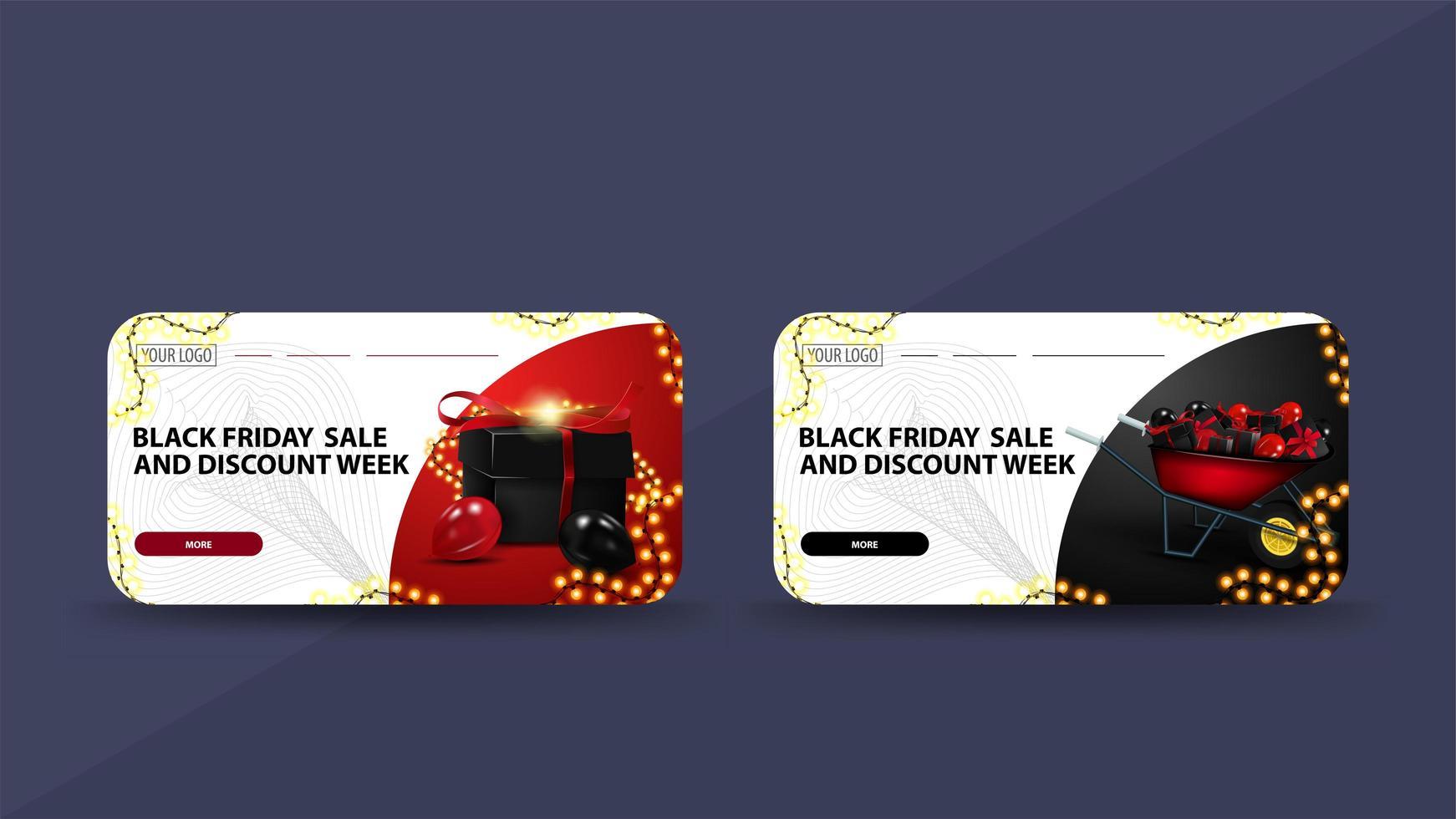 plantillas de tarjetas de rebajas de viernes negro vector