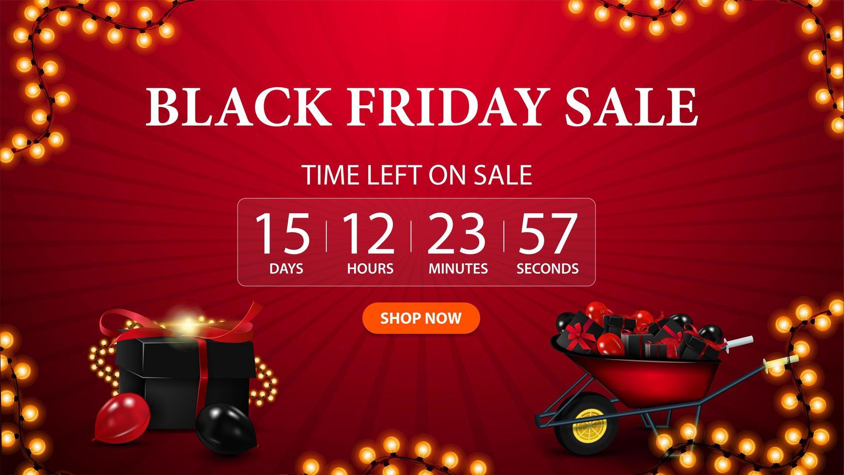 Black Friday Sale countdown banner for website vector