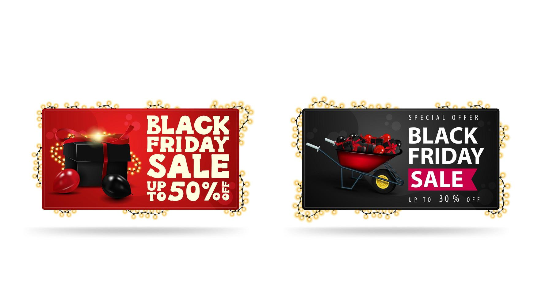 Red and Black horizontal banners with presents vector