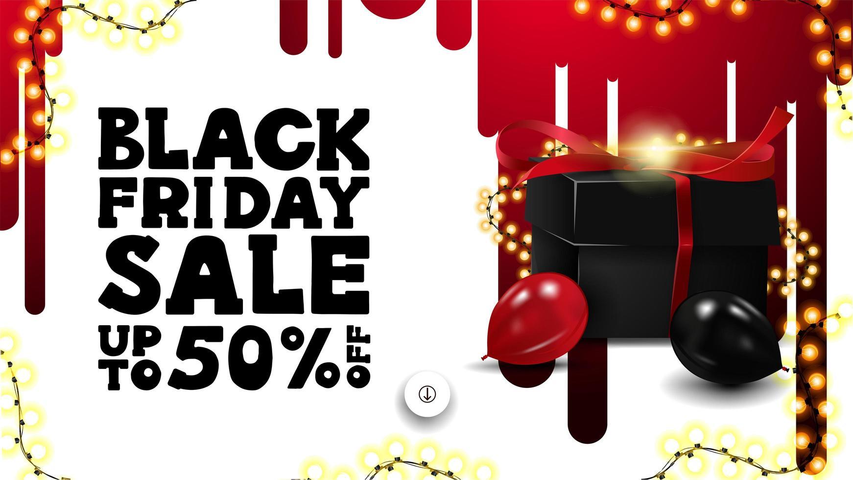 Banner de venta de viernes negro con regalo y globos. vector
