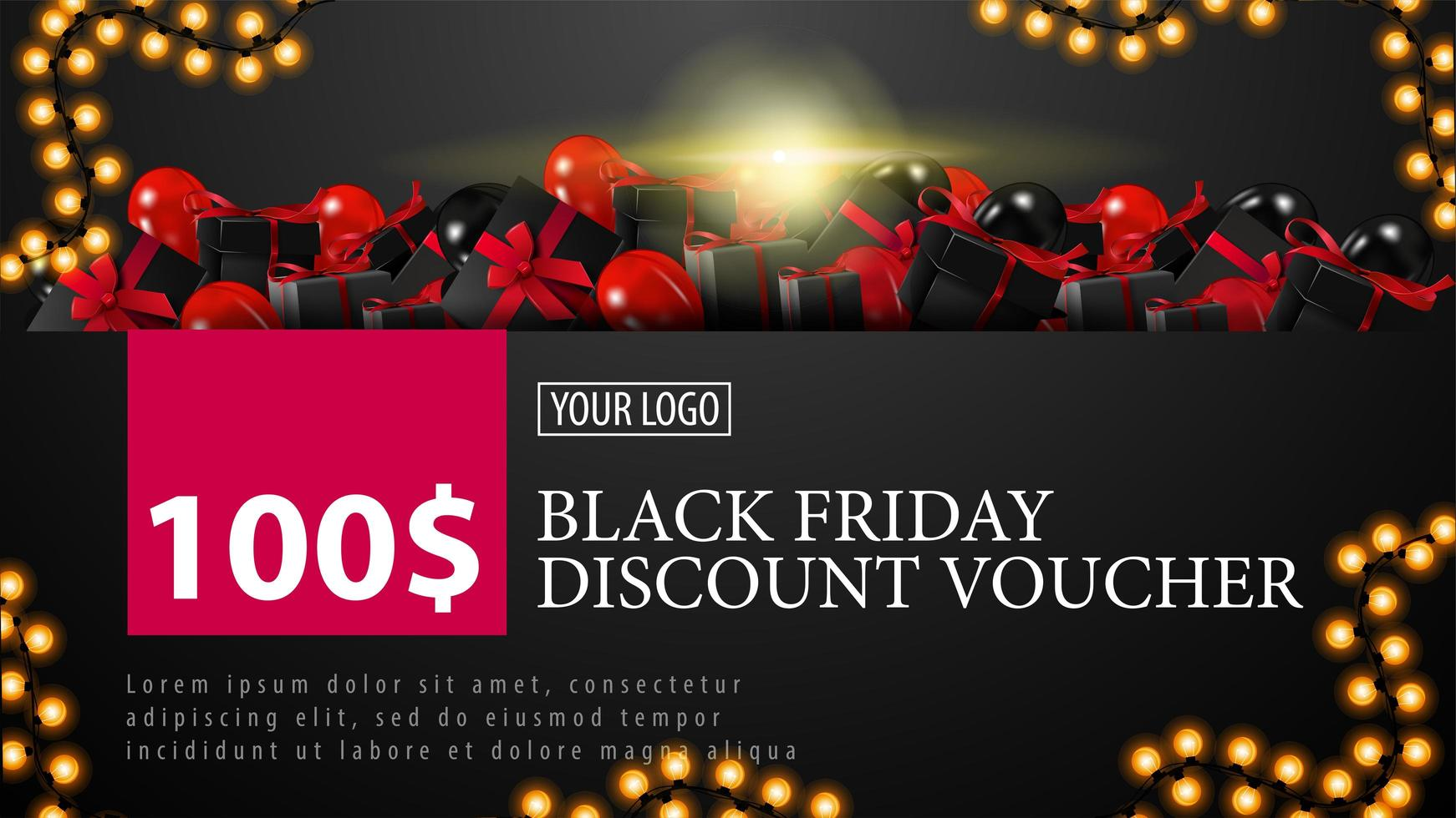 Black Friday Discount Voucher with garland frame vector
