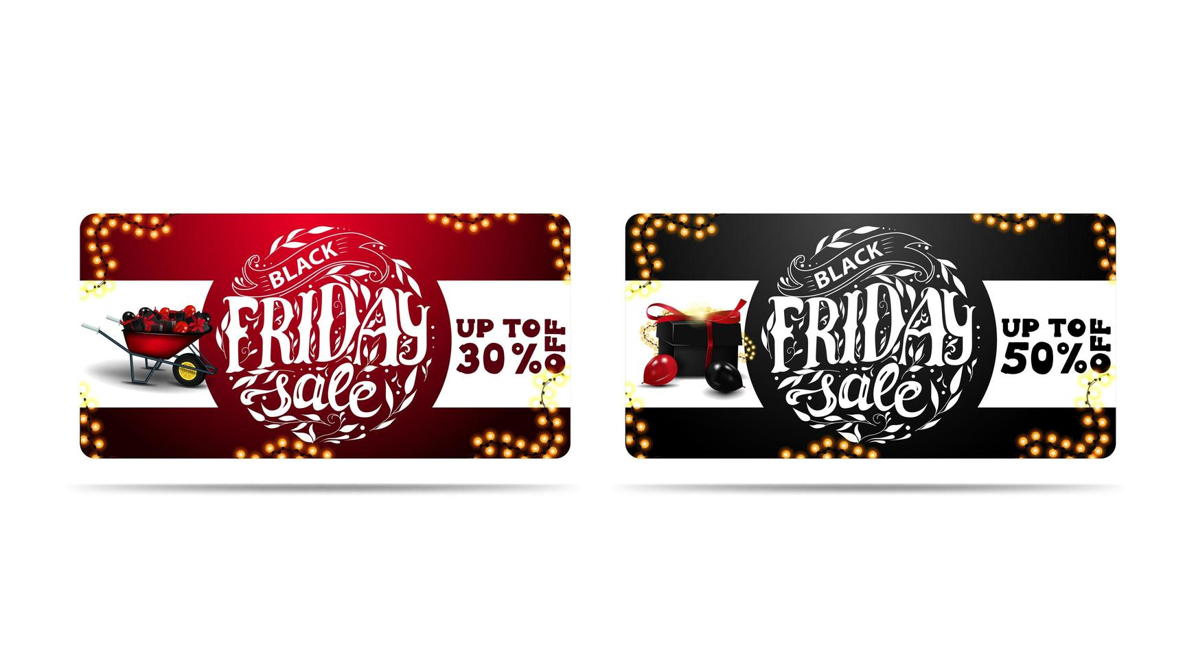 Red and Black horizontal banners with circle lettering vector