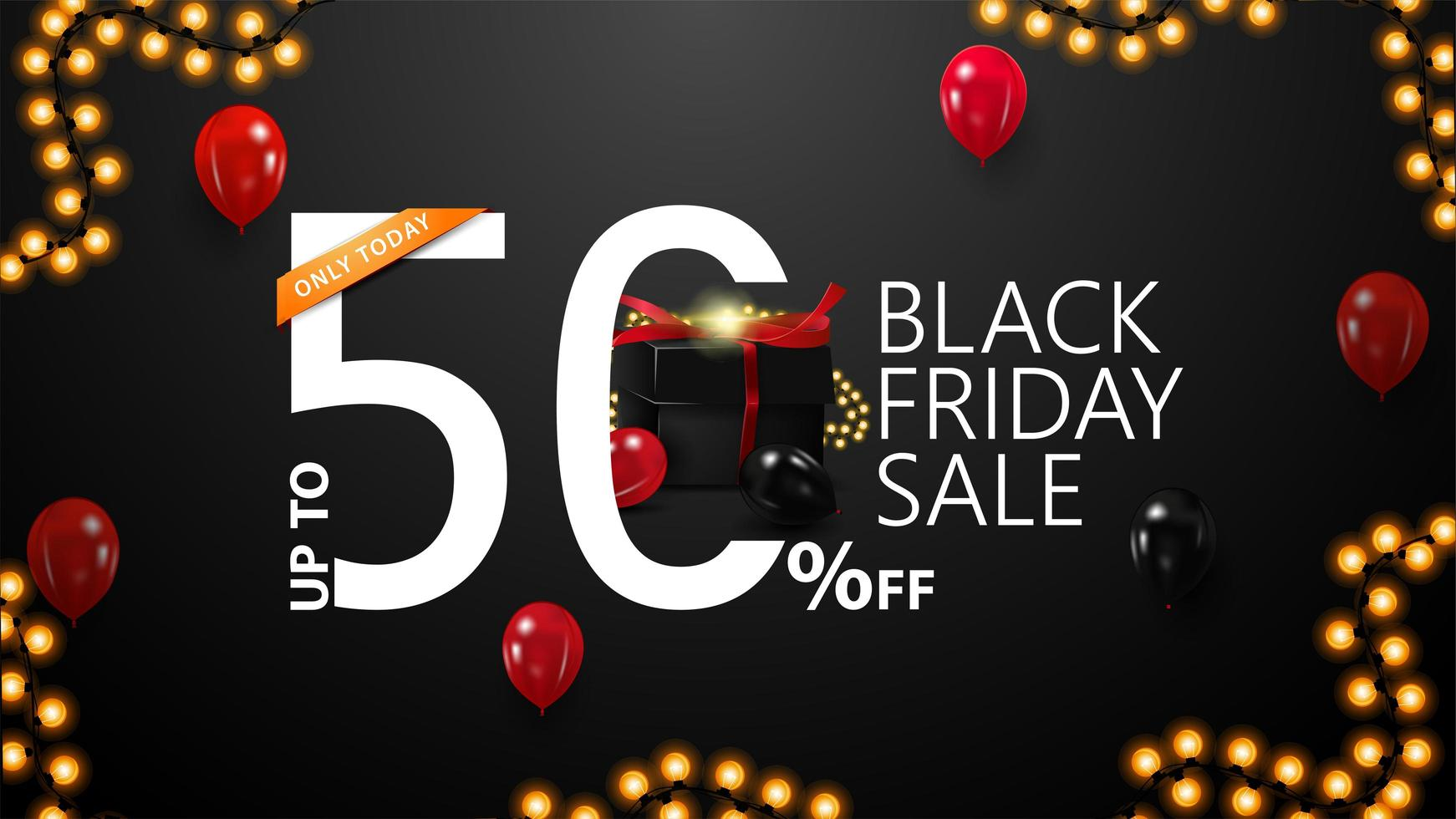 Black Friday Sale, up to 50 off banner vector