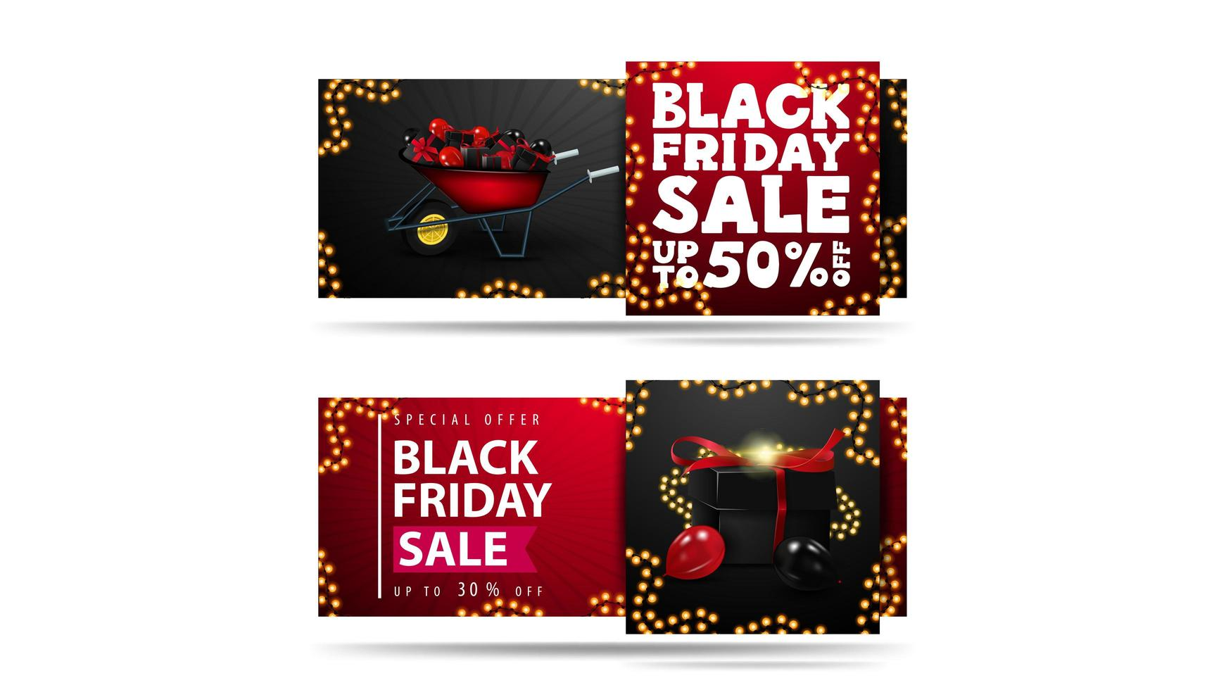 Black Friday Sale, set of discount banners isolated vector