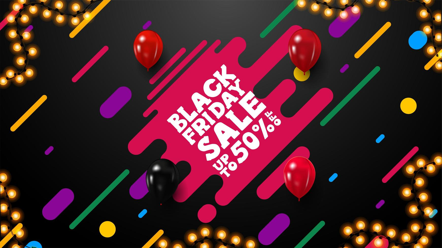 Black Friday sale banner with diagonal colored shapes vector