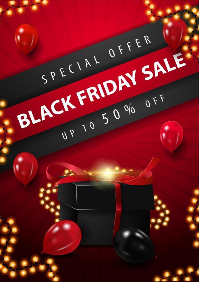 cartel de regalo y luces de venta de viernes negro vector