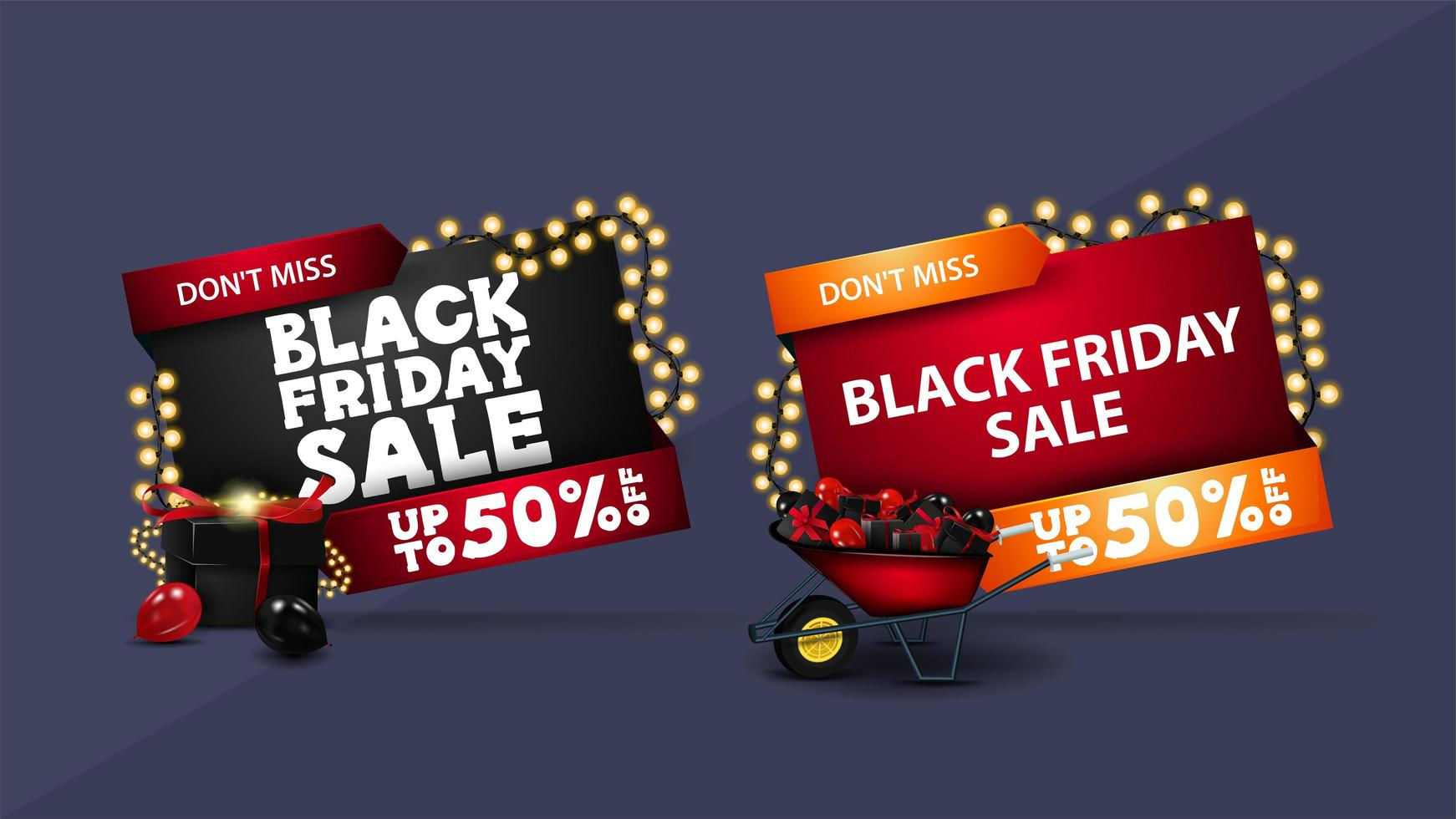 Black Friday sale, set of discount 3D banner vector